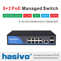 8 Port 10/100/1000Mbps PoE Ethernet Switch Managed Switch With 2 Gigabit SFP Slots IGMP VLAN Management PoE Switch