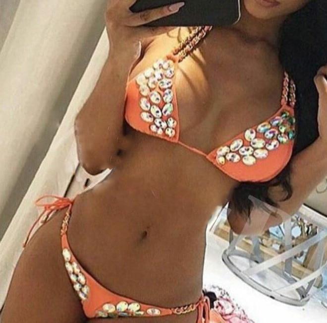 HOTTING ! 2016 VENUS VACATION New rhinestone swimwear two piece swimsuit diamond bandeau bikini 2016 venus vacation black mature women high quality nylon spandex rhinestone swimsuit