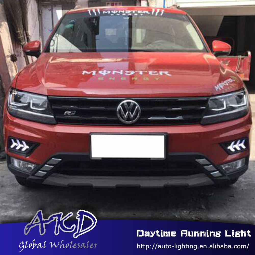 AKD Car Styling for Volkswagen Vw Tiguan 2016-2017  LED DRL for new tiguan l LED Running Light Fog Light Parking Accessories akd car styling for kia sportage r drl 2014 new sportager led drl korea design led running light fog light parking accessories