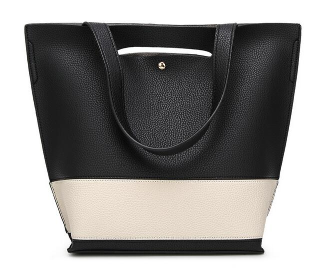 Womens shoulder bag 2017 new litchi lines inclined shoulder bag Contrast color stitching high-capacity portable steamed stuffed