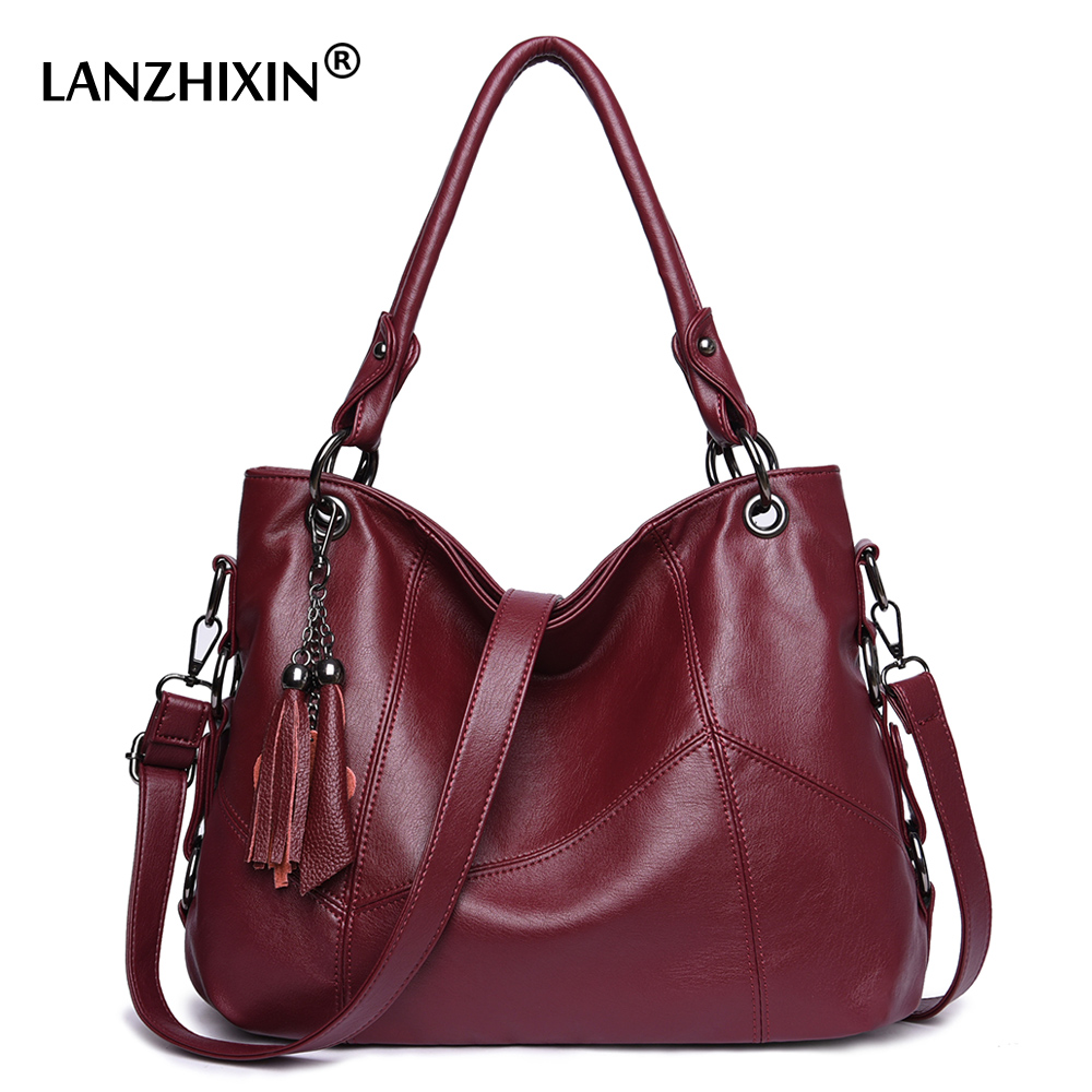все цены на Lanzhixin Women Leather Handbags Women Messenger Bags Designer Crossbody Bag Women Bolsa Top-handle Bags Tote Shoulder Bags 819S