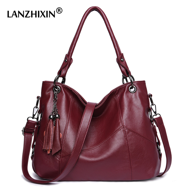Lanzhixin Women Leather Handbags Messenger Bags Designer Crossbody Bag Bolsa Top Handle