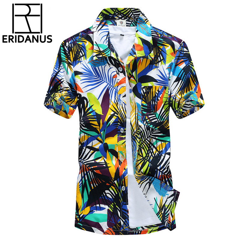 2016 Summer Hawaiian Shirt Men Casual Beach Slim Fashion Floral särgid Coconut Palmera trükkimine Camisa Hombre Social Curtas X001