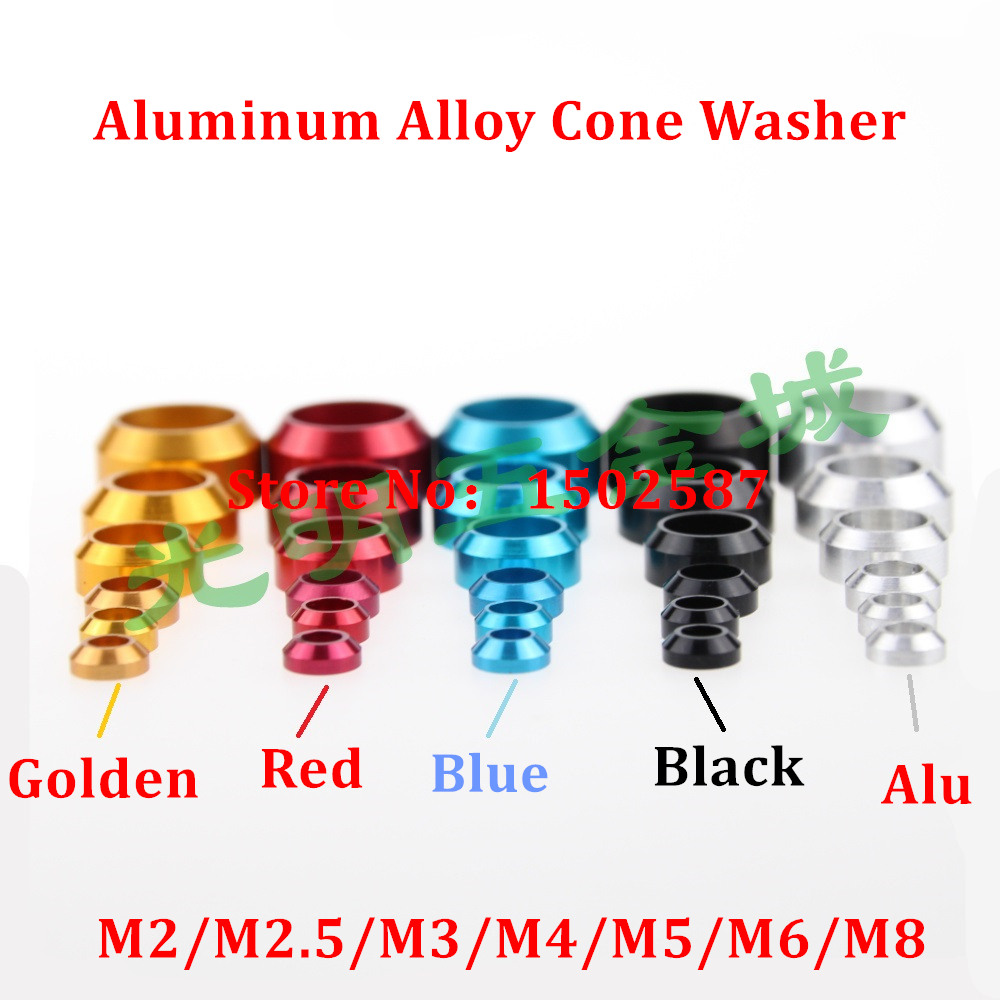 10pcs M2 M2 5 M3 M4 M5 M6 M8 Cap Head Aluminum Cone Washer aluminum alloy Car model Crown Washer locking Gasket in Washers from Home Improvement