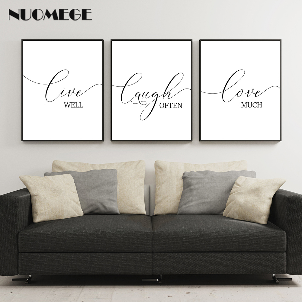 Motivational Wall Art Live Laugh Love Poster And Prints Living Modern Black English Canvas Art Painting Picture For Room Decor Painting Calligraphy Aliexpress