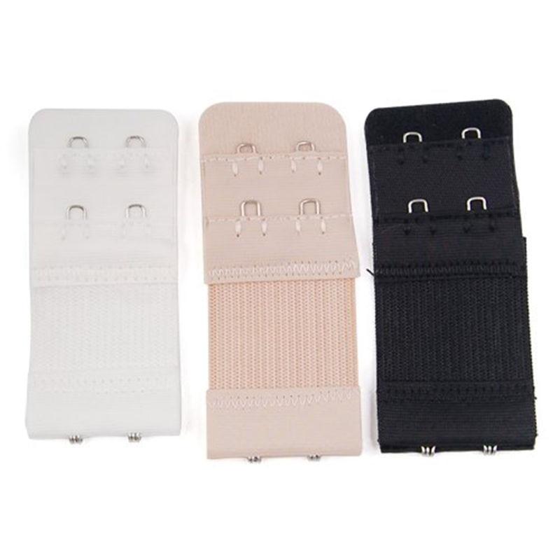 1PC Women Bra Strap Extender Strap 2 Rows 2 Hooks Nylon Clasp Strap Bra Extension Intimates Accessories White/Black/ Nude