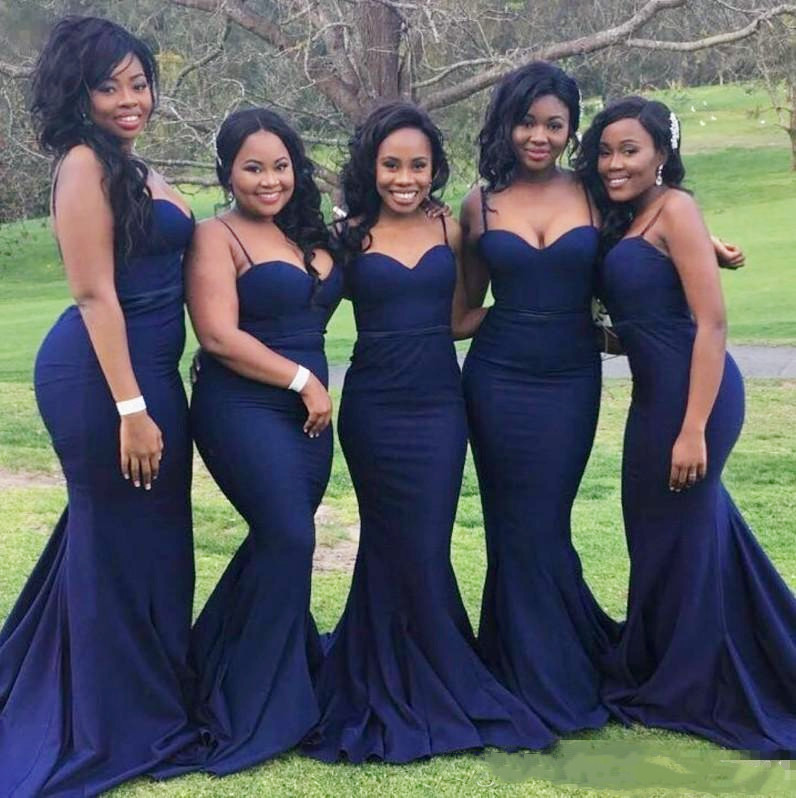 Sexy Navy Blue   Bridesmaid     Dresses   for Wedding Guest Party Cheap Straps with Sweetheart Neck Plus Size Formal Gowns for African B