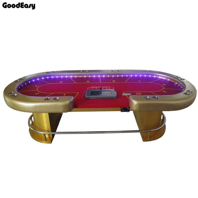 -280*140cm 6 couleurs Casino Poker Table Texas Hold'em Baccarat carré Tbale avec 10 joueurs