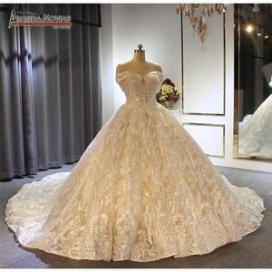 Image 1 - Бальное платье принцессы с открытыми плечами, свадебное платье цвета шампанского, Новинка