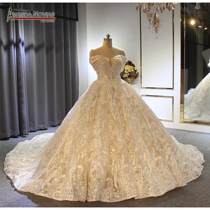 Image 1 - Off the shoulder straps ball gown princess wedding dress champagne color brand new