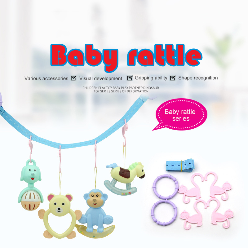 Cute Cartoon Color Baby Rattle Newborn Sleep Comfort Bed Bell Baby Early Childhood Educational Toy Set Baby Toys 0-12 Months