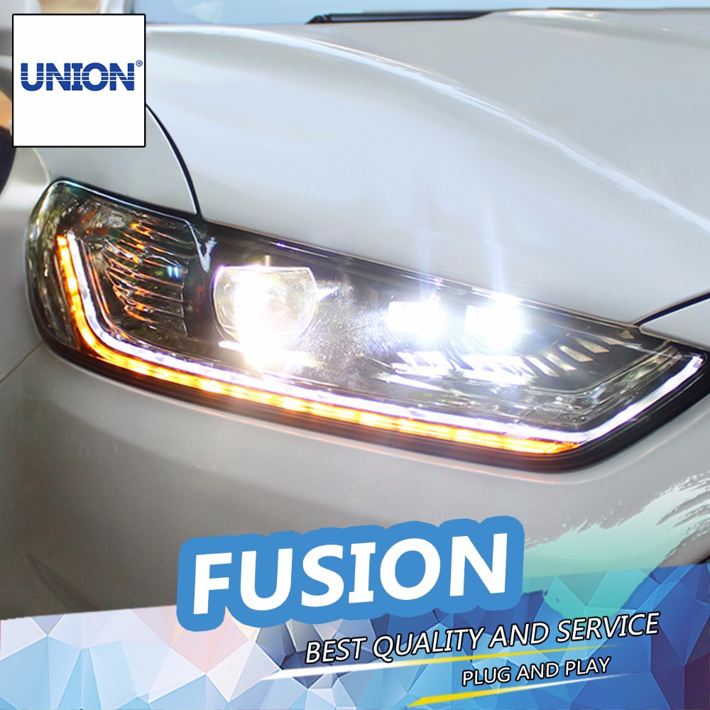 Union car styling for ford fusion headlights 2013 2015 new fusion led headlight original drl