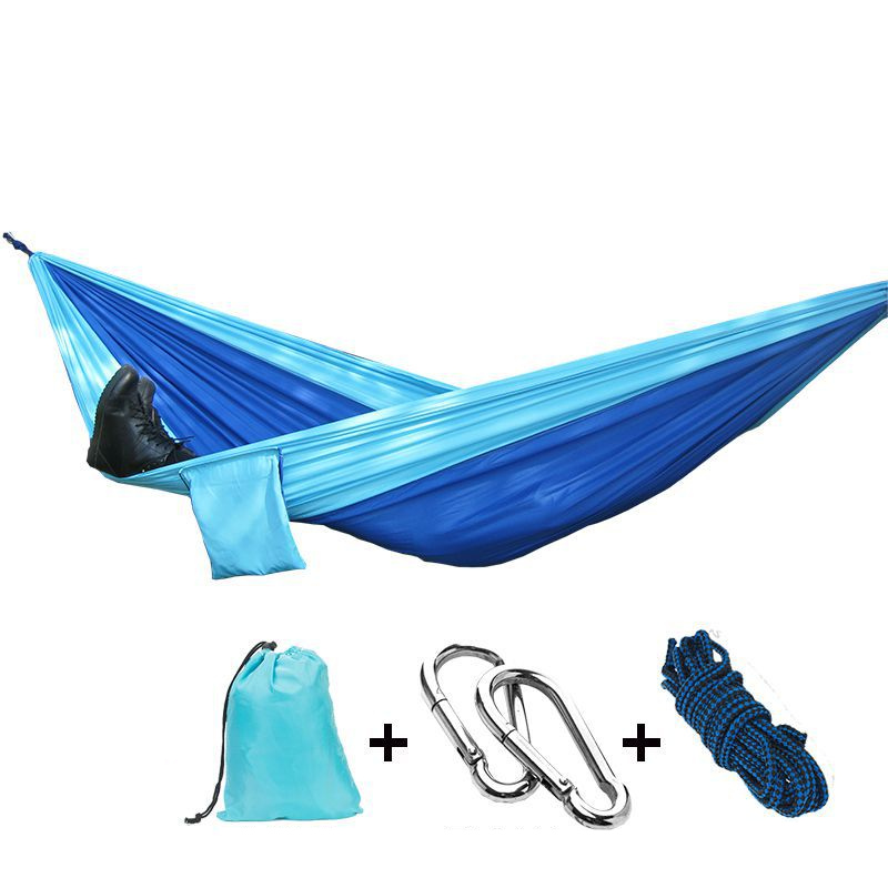 Hammock Portable Parachute Nylon Fabric Travel Ultralight Camping double Wide Outdoor Travel Suspension acehmks hammock double portable folding ultralight parachute nylon camping hammocks garden swing with 2 aluminum alloy snap