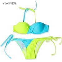 NINGFEINI Sexy Bikini Set Summer 2017 Contrast Color Swimsuit Halter Top Trikini Swimwear Thong Bikini Brazilian