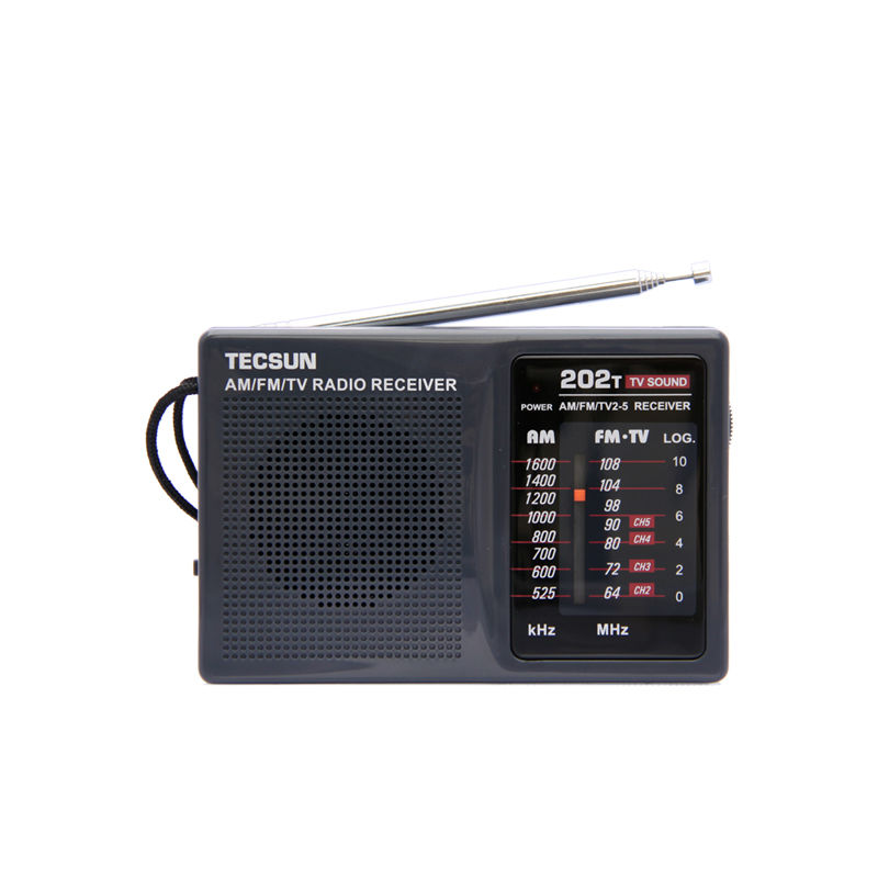 TECSUN R-202T AM / FM / TV Pocket Radio R202T Marrës radio Radiator i integruar Transporti falas