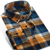 Men S Plaid Checked Pattern Brushed Flannel Shirt Comfortable Soft Cotton Long Sleeve Slim Fit Smart