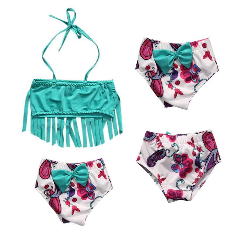 Summer Pop Children Baby Girl Tankini Bikini Suit 2017 Tassel Swimwear Swimsuit Bathing Costume