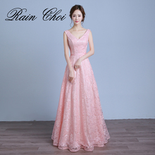 Real Photo Women Long Formal Prom Gown V Neck Lace Evening Dresses 2018