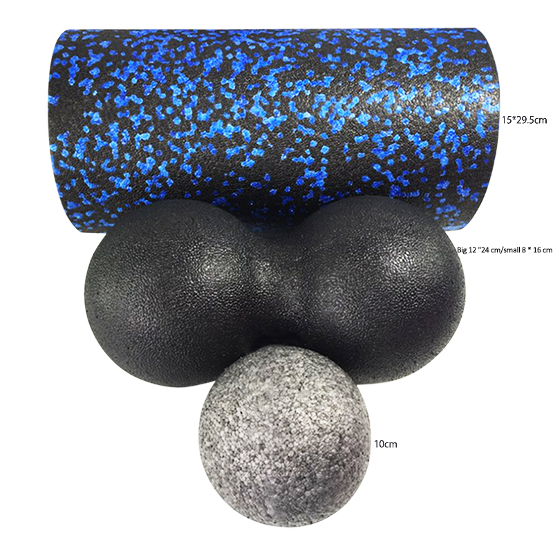 Massage Foam Roller Blue  Fitness Pilates Yoga Column Gym Equipment Massage Ball Peanut Ballscombination