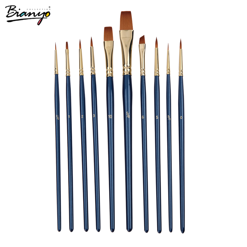 Bianyo 10Pcs/Set Nylon Hair Watercolo Painting Brush Set Acrylic Paint Brush for Drawing Quality Watercolor Brush Art SuppliesBianyo 10Pcs/Set Nylon Hair Watercolo Painting Brush Set Acrylic Paint Brush for Drawing Quality Watercolor Brush Art Supplies