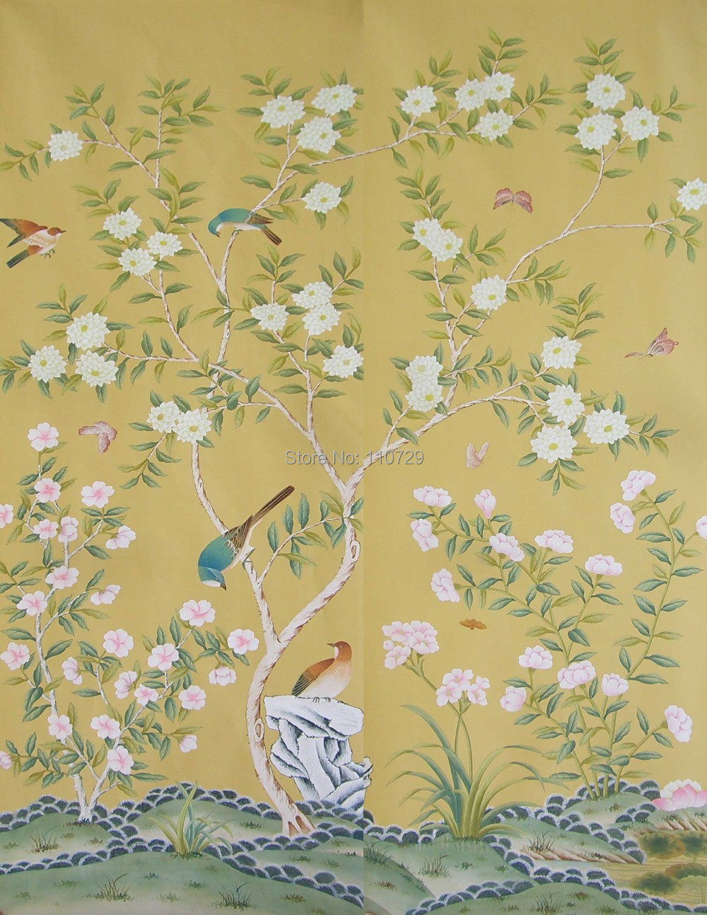 Decoration material Hand painted silk wallpaper painting flowers ...