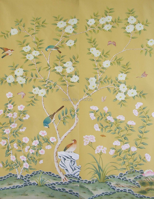 Wallpaper With Birds decoration material hand painted silk wallpaper painting flowers