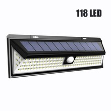 118 LED 1000LM עמיד למים PIR חיישן תנועת שמש גן אור חיצוני LED שמש מנורת 3 מצב אבטחה בריכת דלת שמש תאורה