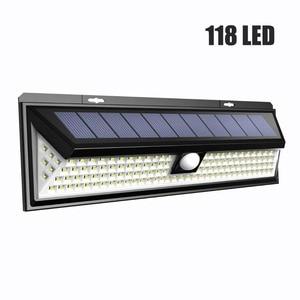 Image 1 - 118 LED 1000LM مقاوم للماء PIR محس حركة الشمسية مصباح حديقة في الهواء الطلق LED الشمسية مصباح 3 وضع الأمن بركة الباب الإضاءة الشمسية