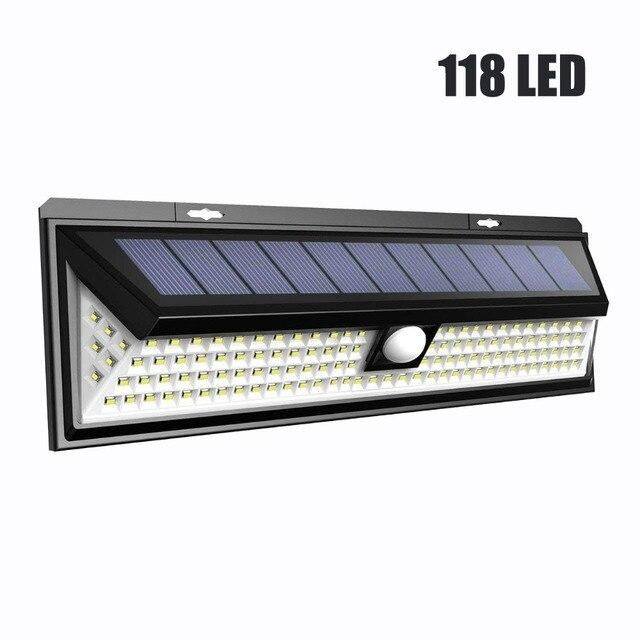 118 LED 1000LM مقاوم للماء PIR محس حركة الشمسية مصباح حديقة في الهواء الطلق LED الشمسية مصباح 3 وضع الأمن بركة الباب الإضاءة الشمسية