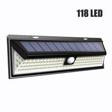 118 LED 1000LM impermeable PIR Sensor de movimiento luz Solar de jardín al aire libre LED lámpara Solar 3 modos de seguridad de la puerta de la piscina iluminación Solar