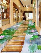 3d pvc flooring custom photo mural picture wall sticker lotus waterfall carp floor painting room wallpaper for walls 3d