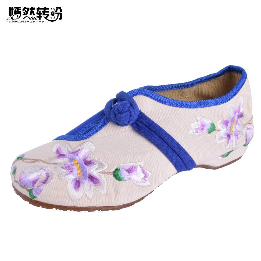 Spring New Women Embroidery Canvas Flats Shoes elegant blue and white embroidered  Floral old Beijing Girl casual Dance shoes new chinese women flats old beijing cloth embroidery shoes retro national floral embroidered dance soft canvas single shoes