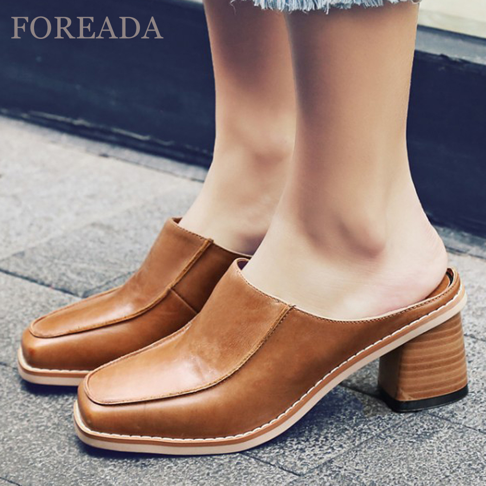 FOREADA Real Leather Shoes Women Slippers Female Casual Genuine Leather Mules Square Toe Thick High Heels Brown Size 40 Zapatos