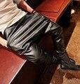 Новые мужские штаны-шаровары мода 2015 года из искуственной кожи с прорезиненной тесьмой на поясе