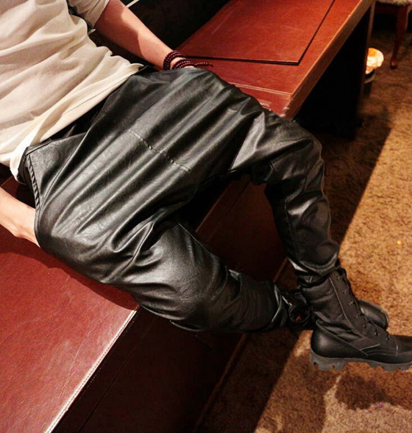 new 2015 fashion faux leather harem pants men drop crotch