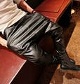 New 2015 Fashion faux leather harem pants men drop crotch pants men baggy pants casual fashion elastic waist pants