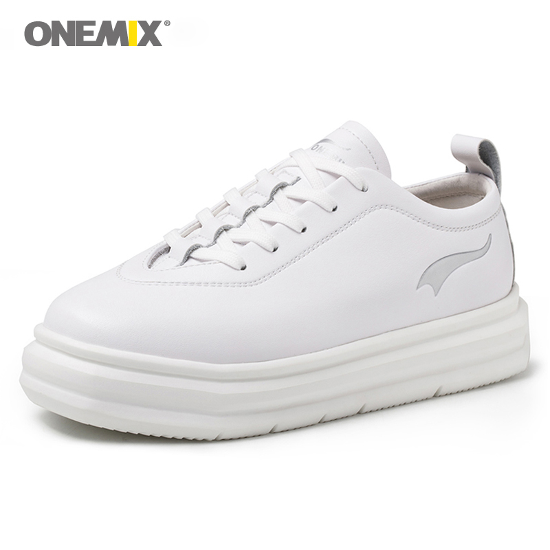 Onemix 2018 new Women Shoes Height Increasing white black female platform increased shoes brand Outdoor Sneakers Increase 5CM