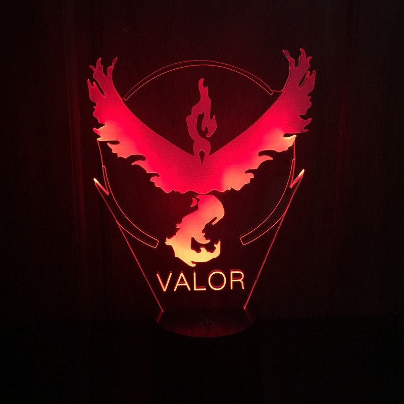 Color changing Flashing touch sensor control Pokemon Go Team Valor Arcylic 3D font b LED b