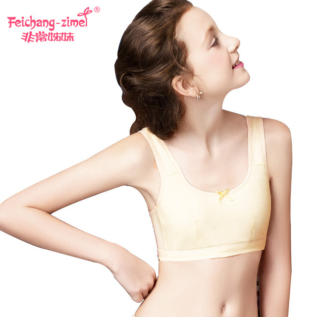 87645fa465e03 Free Shipping Feichangzimei Teen Girl Underwear Cotton Sport Bra  White Yellow Green AA CupBras 2 Pack for Pubescent Girls-100920