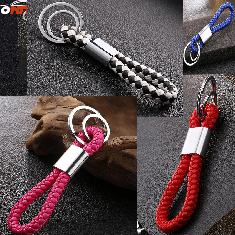 1pcs black red blue brown pink Key Holder Car Styling Braided Leather Strap Keychain