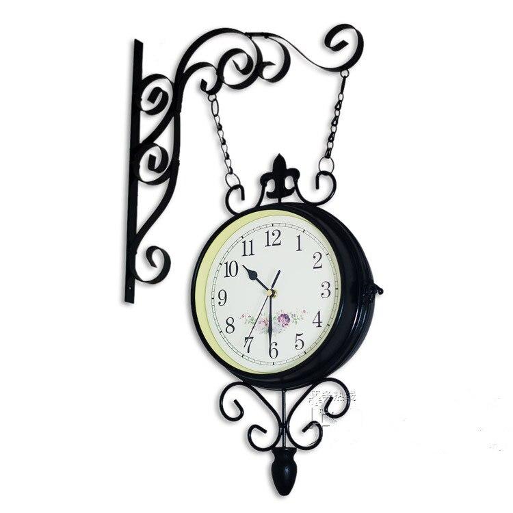 Double Faced Hanging Wall Clocks Iron Black Modern Big