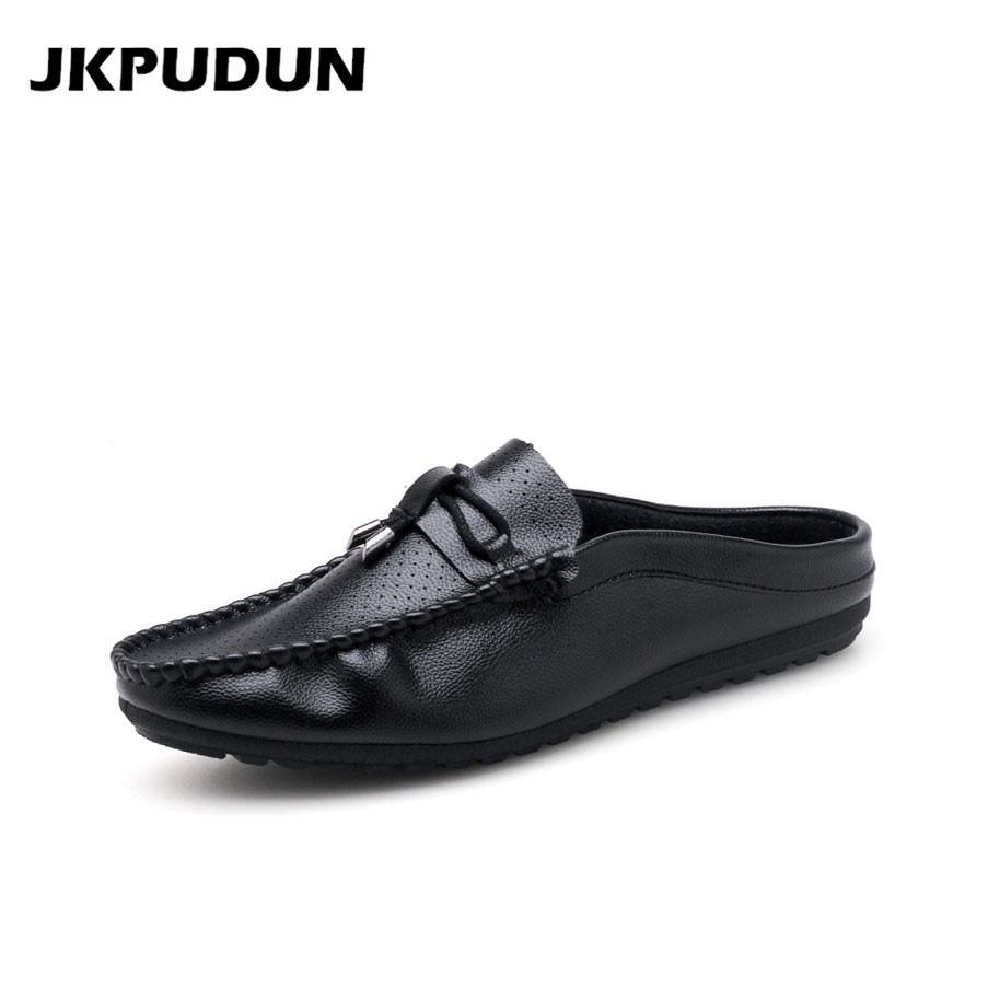 JKPUDUN Summer Half Shoes For Men Slippers Luxury Brand