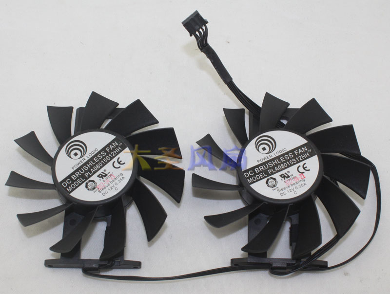 PLA0815S12HH 12V 0.35A Graphics cooling dual fan for Gainward GEFORCE GTX680 dobe tyx 619s dual usb cooling fan for xbox one s console