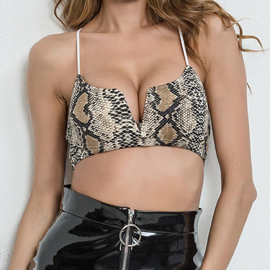2018 Sexy Women Crop Top Bustier Vest Bra Fashion Snake Print Sleeveless Camisole For Women Cropped Feminino T-shirt Dec20 Famous For Selected Materials, Novel Designs, Delightful Colors And Exquisite Workmanship