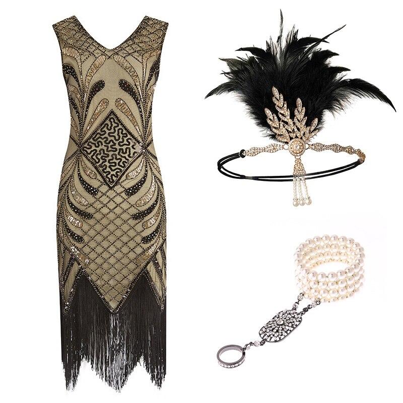 1920s femmes Gatsby Costume clapet robes col en V frangé robe avec 20s accessoires ensemble de 3