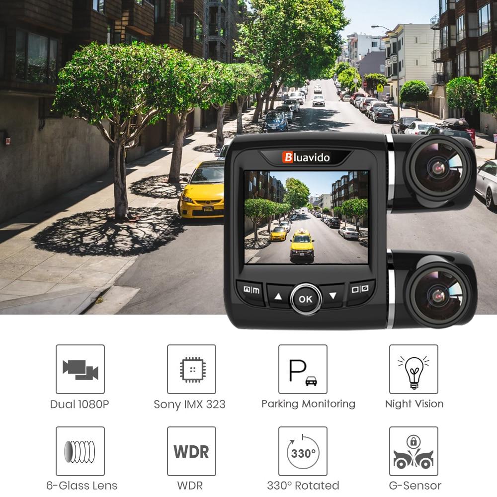 Bluavido Dual Lens FHD 1080P Car DVR Camera with 1080P Rear cam WDR Night Vision Novatek 96663 Car Video Recorder For Uber Taxi - 2