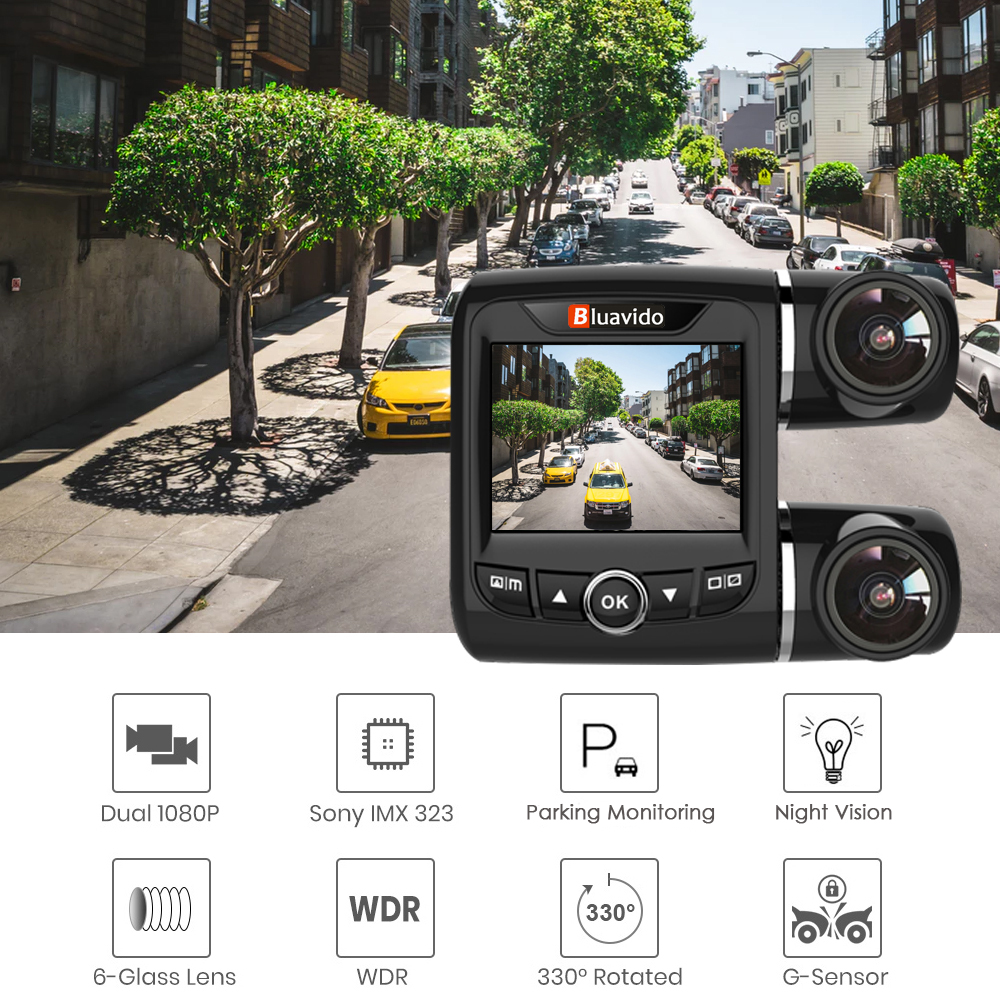 Bluavido Dual Objektiv FHD 1080P Auto DVR Kamera mit 1080P Hinten cam WDR Nachtsicht Novatek 96663 Auto video Recorder Für Uber Taxi - 2
