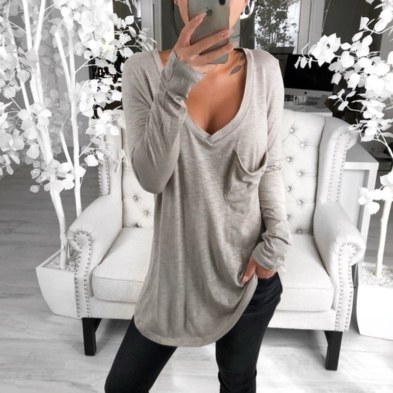 Women Spring T-shirts V Collar Loose Type Pocket Long-sleeved Bottom T-shirt Solid Black Grey Pink White S To XXXL  Women Shirts