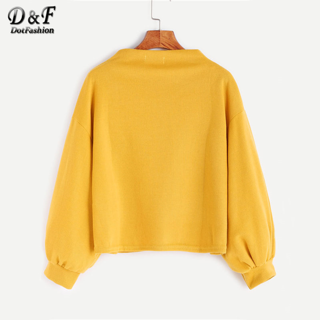 Dotfashion Funnel Neck Lantern Sweatshirt 1