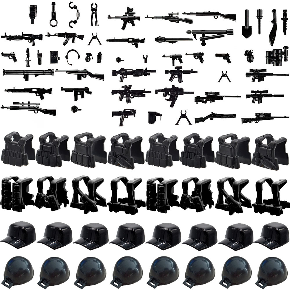 WW2 Black Pistol Sniper Rifle Guns Military Weapons Bricks Knife Armor Hat Cap Machete Part Building Blocks Kids Gift Toys military hat flat cap m177